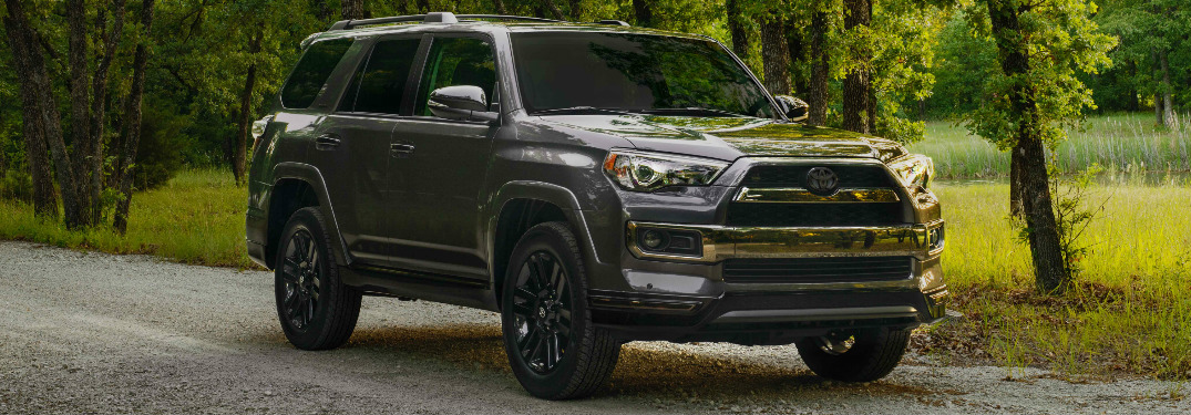 Grey 2019 Toyota 4Runner Nightshade Special Edition Driving on a Gravel Road