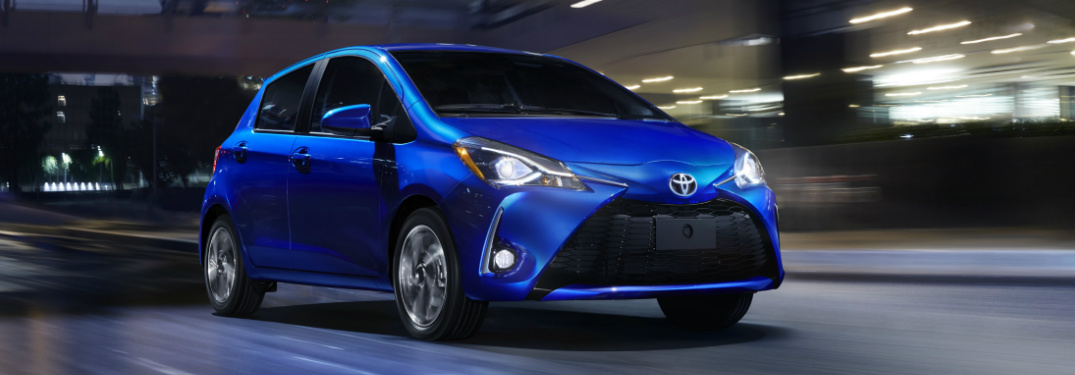 blue 2018 Toyota Yaris exterior front