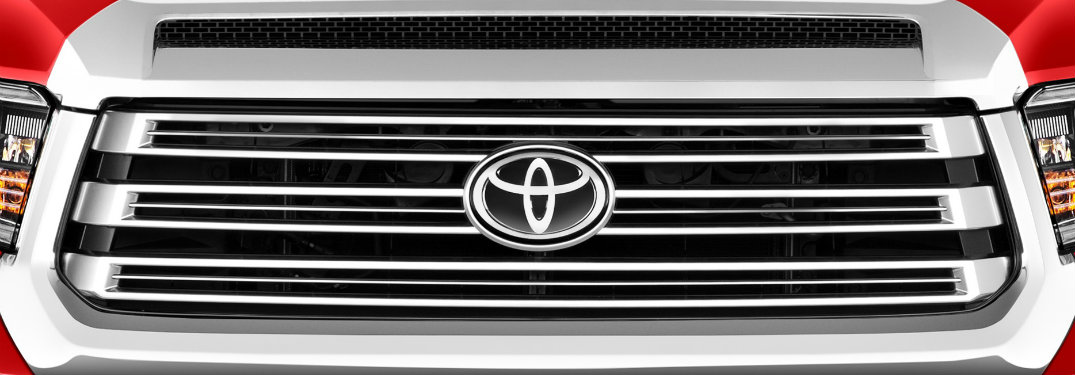 Red toyota tundra grill close up