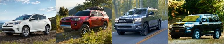 collage of Toyota SUVs