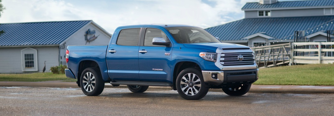 blue 2018 Toyota Tundra side view
