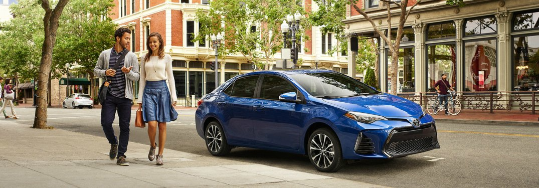 blue 2018 Toyota Corolla front side view