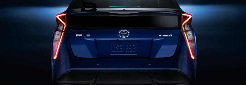 blue 2018 Toyota Prius back view