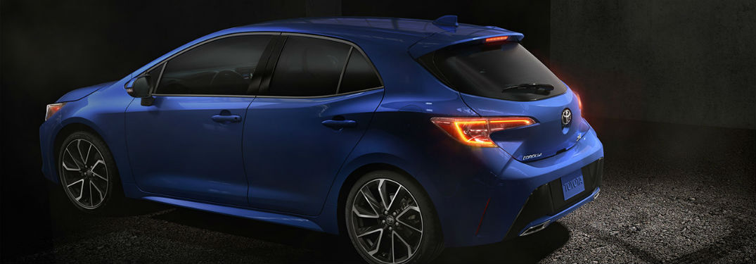 2019 Toyota Corolla Hatchback exterior back fascia and drivers side in dark room
