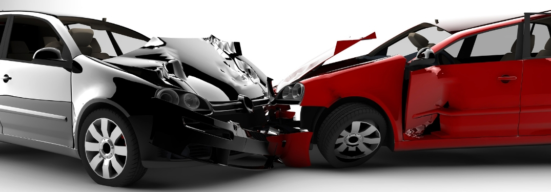 two vehicles involved in a head to head collision