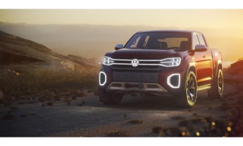 Vw Atlas Tanoak Concept Pickup Truck Exterior Shot At Sunset Sundown With Xenon Headlights On O