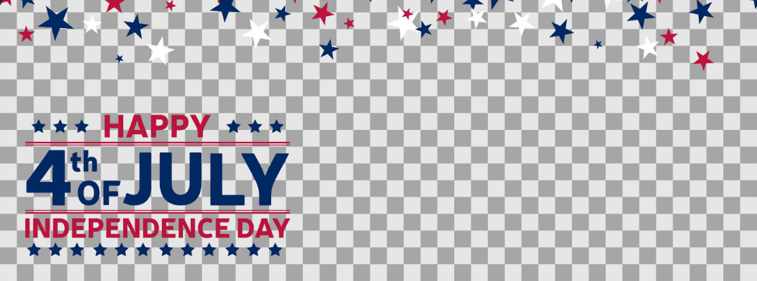 happy 4th of july independence day checkered banner with falling red, white, and blue stars