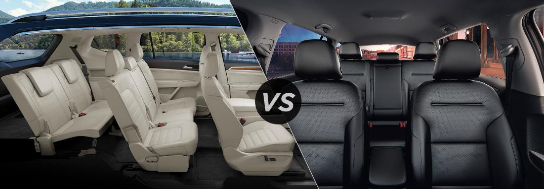 Split screen image of the interiors of the 2018 Volkswagen Atlas and the 2018 Volkswagen Golf Alltrack