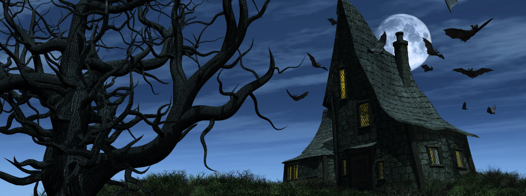an old creaky haunted house at night with a full moon and a rotting tree as a group of bats fly by