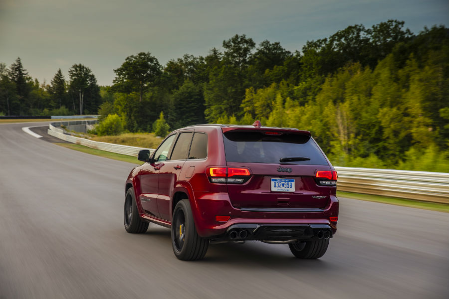 Towing capacity should be about 7,400 pounds for the trackhawk