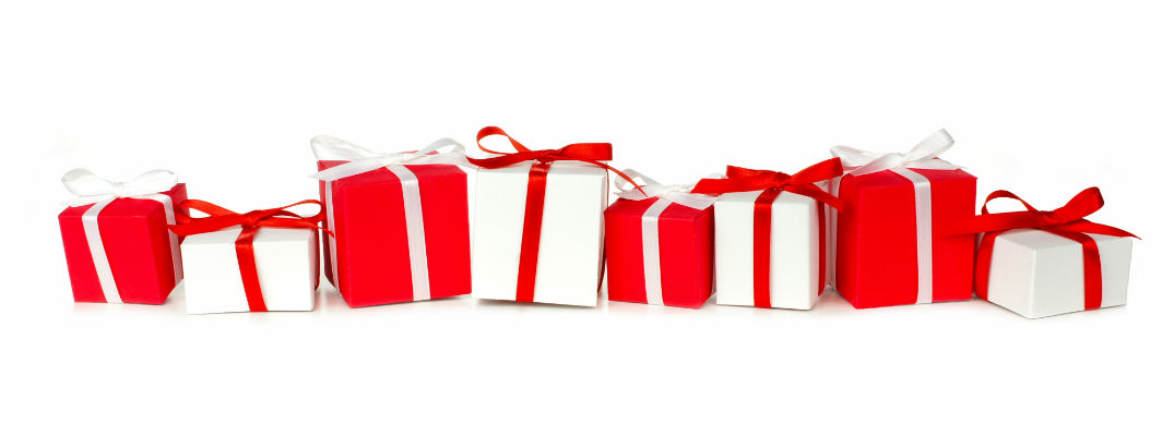 A stock photo of a line of red and white-wrapped presents