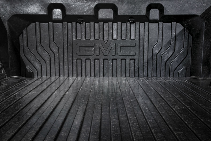 A photo of the carbon fiber cargo bed in the 2019 GMC Sierra Denali