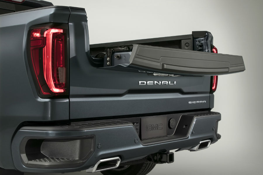 A photo of the standing workstation configuration on the new tailgate system of the 2019 Sierra Denali