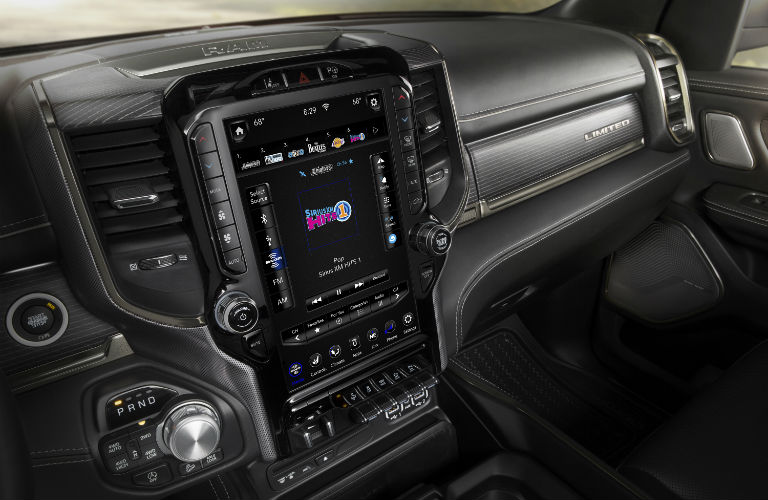 A photo of the 12-inch touchscreen interface in the 2019 Ram 1500