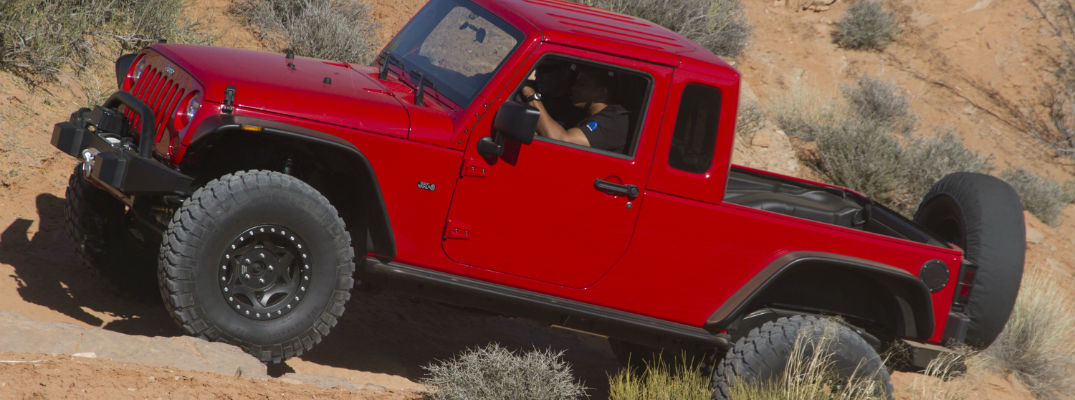 A left profile photo of what the new Jeep pickup truck may look like.