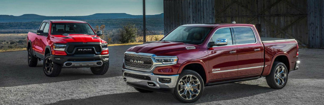 2019 Ram 1500 models exterior shot parked outside barn in the country with standard and limited trim levels