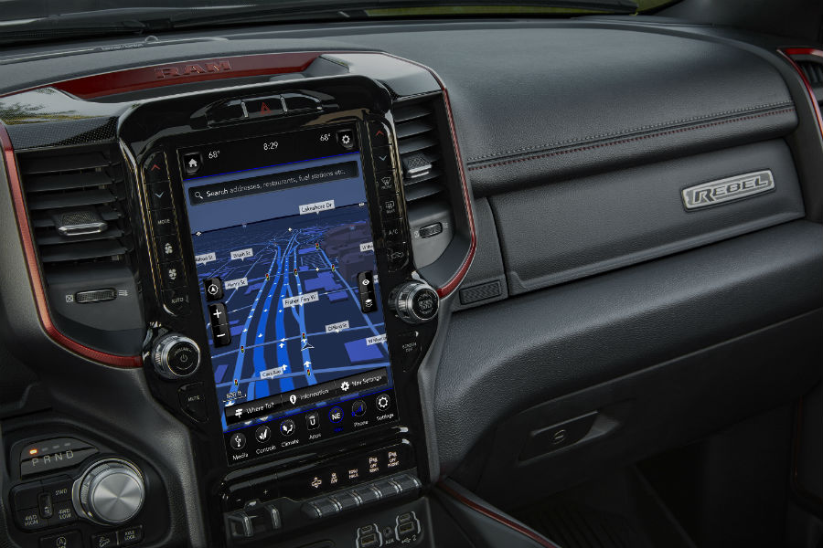 An interior photo of the large touchscreen in the 2019 Ram Rebel 12.