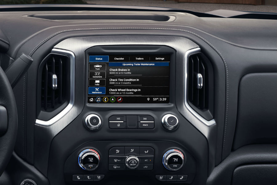 A photo of the touchscreen used in the 2019 GMC Sierra HD.