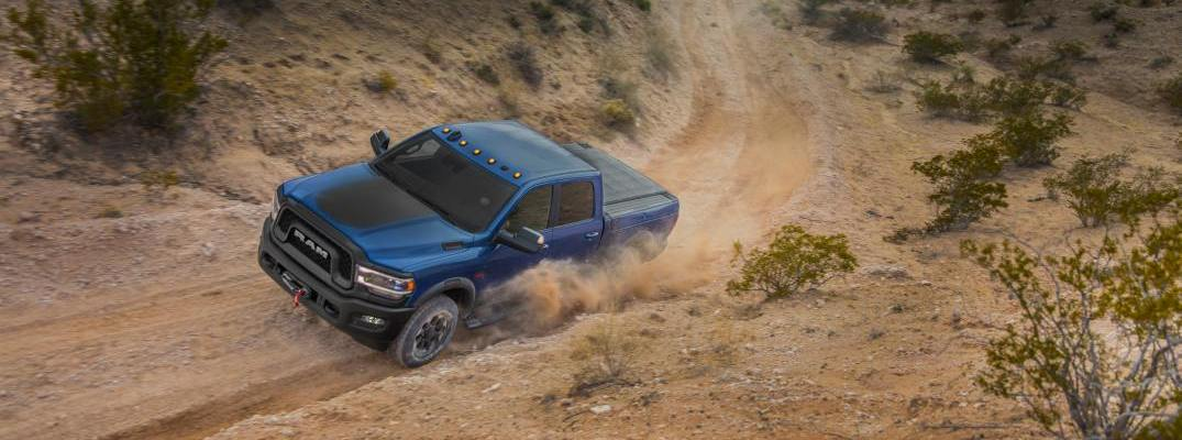 An overhead photo of the 2019 Ram Heavy Duty driving through the desert.