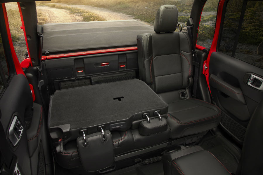 A photo of one of the backseat configurations in the 2020 Jeep Gladiators.