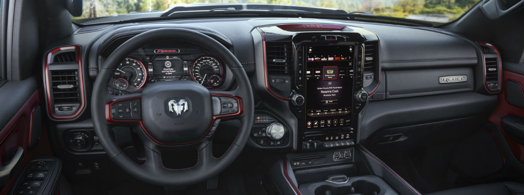 A photo of the dashboard in the 2019 RAM 1500 dashboard and the large touchscreen that is available.