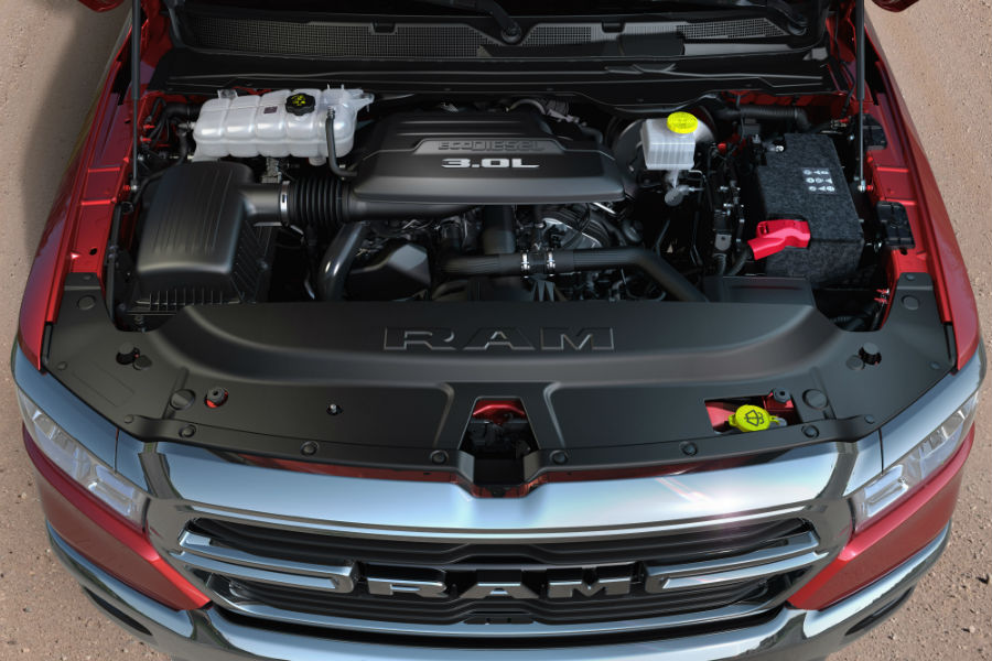 A photo of the new Ram EcoDiesel engine used in the 2020 Ram 1500.