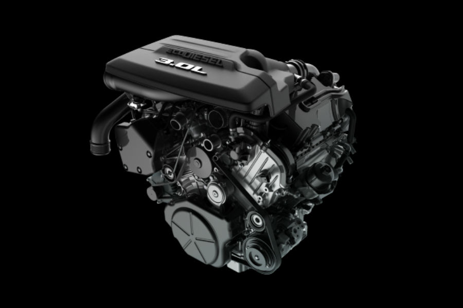 A cut-out photo of the new Ram EcoDiesel engine used by 2020 Ram trucks.