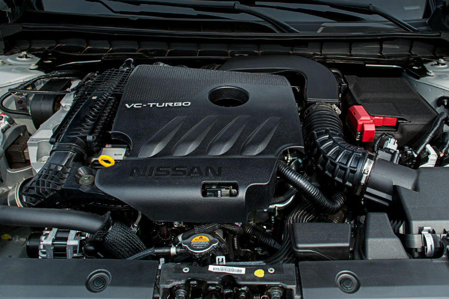 A photo of an engine used by the 2020 Nissan Altima featuring the variable compression turbocharger.