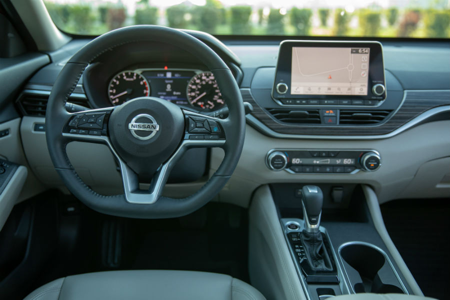 A photo of the driver's cockpit in the 2020 Altima.