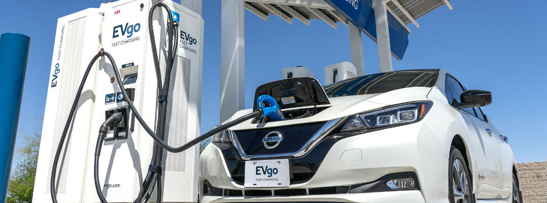A photo of a Nissan Leaf being charged.
