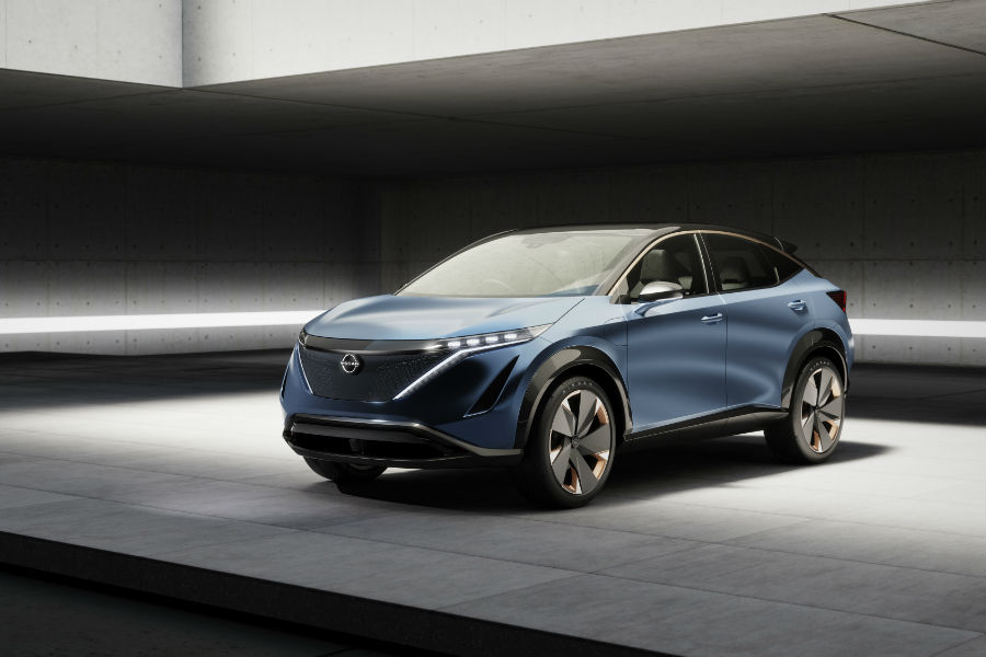 A photo of the Nissan Aryia Concept vehicle in a photo studio.