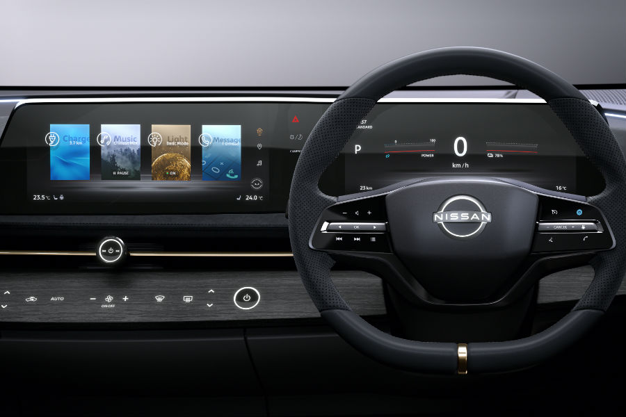 A photo of the touchscreens inside the Nissan Aryia concept.