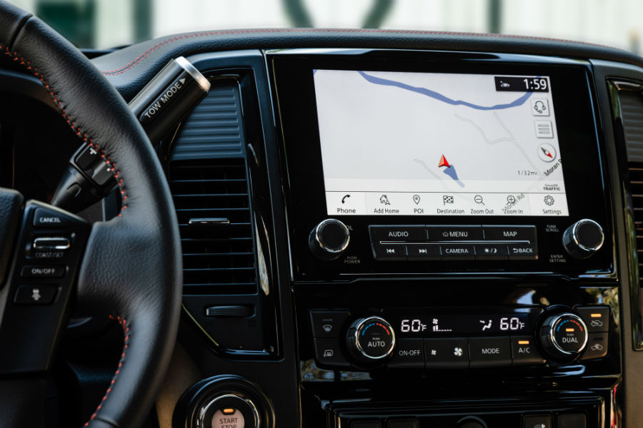 A photo of the touchscreen interface used by the 2020 Nissan Titan XD.