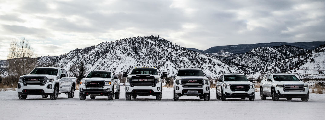 A side-by-side photo of the entire GMC AT4 lineup.