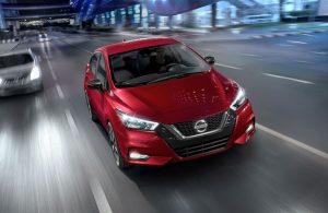 2020 Nissan Versa cruising down the street
