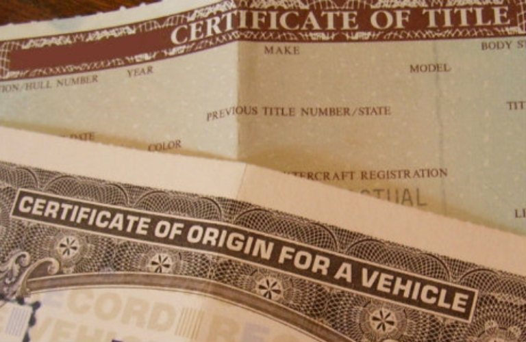 Certificate of title paperwork