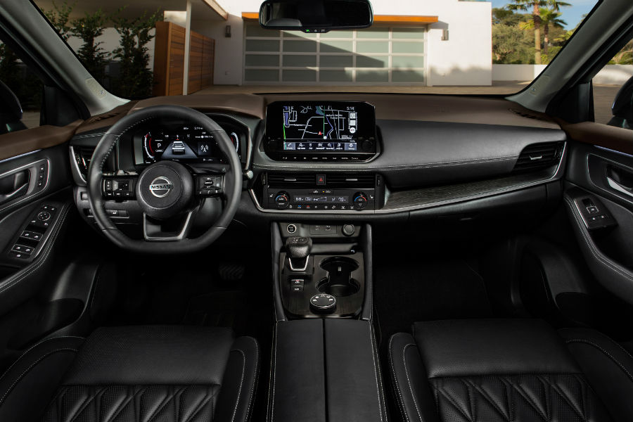A photo of the dashboard in the 2021 Nissan Rogue.