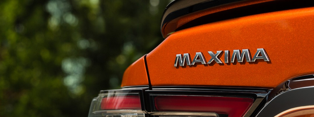 A photo of the Maxima badge used by the 2020 Nissan Maxima.