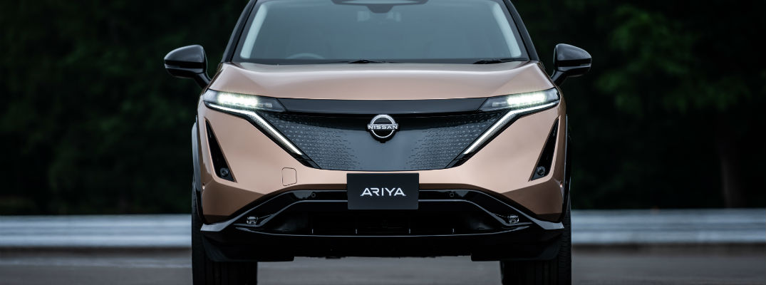 A front-end photo of the Nissan Ariya.