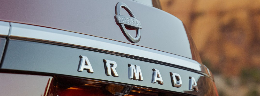 A photo of the Armada badge used on the back of the 2021 Nissan Armada.