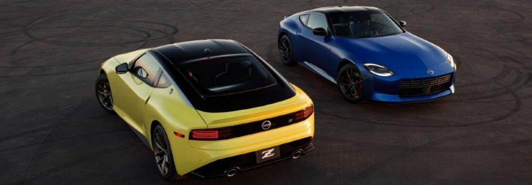 Two models of the 2023 Nissan Z shot from above