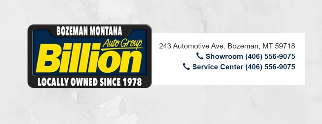 View of the Billion Auto Group logo and contact number