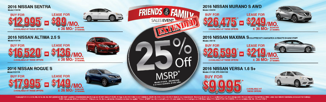 Glendale Nissan Friends And Family Sales Event Extended