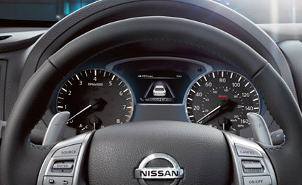 ... 2018 Nissan Altima Leather Wrapped Steering Wheel And Gauge Cluster