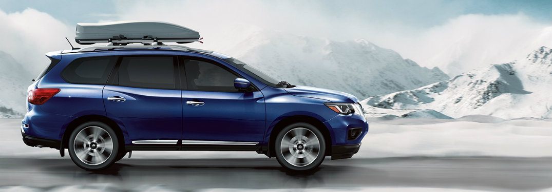 2018 Nissan Pathfinder Platinum caspian blue roof rails driving in winter