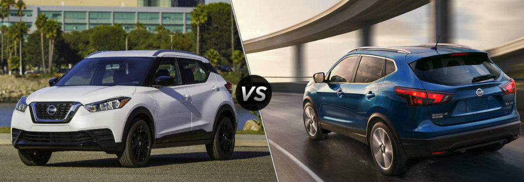 White 2018 Nissan Kicks on left and Blue 2018 Nissan Rogue on right