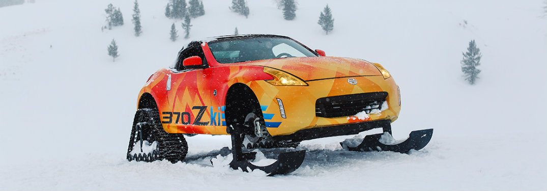 Nissan 370Zki driving through snow