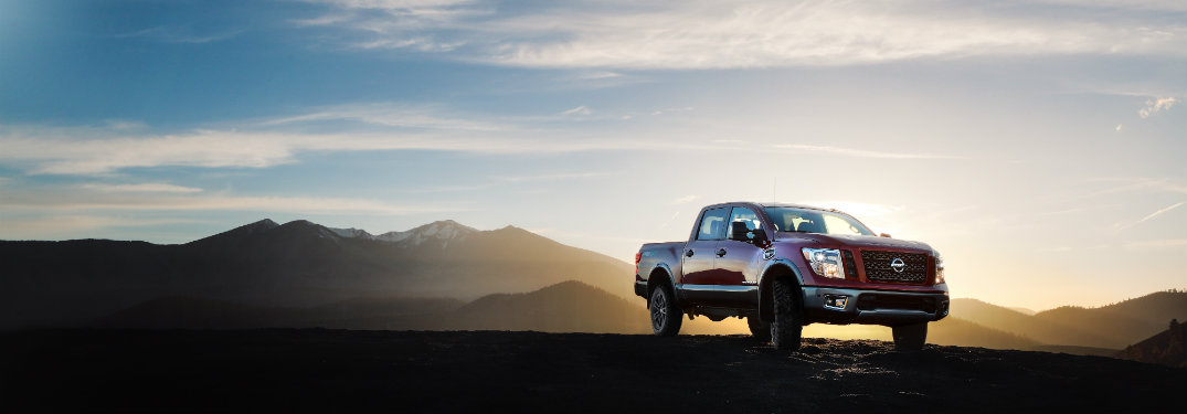 Nissan Titan lifted with sunset background