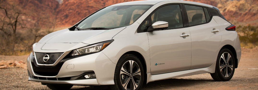 Side view of a white 2018 Nissan LEAF