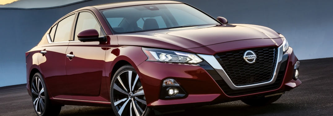 Side view of a maroon 2019 Nissan Altima